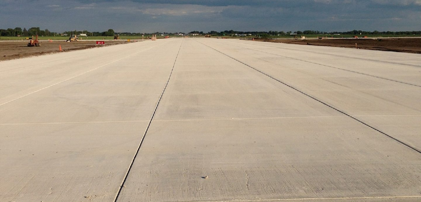 An image of the concrete work that was completed at the Davenport Municipal Airport