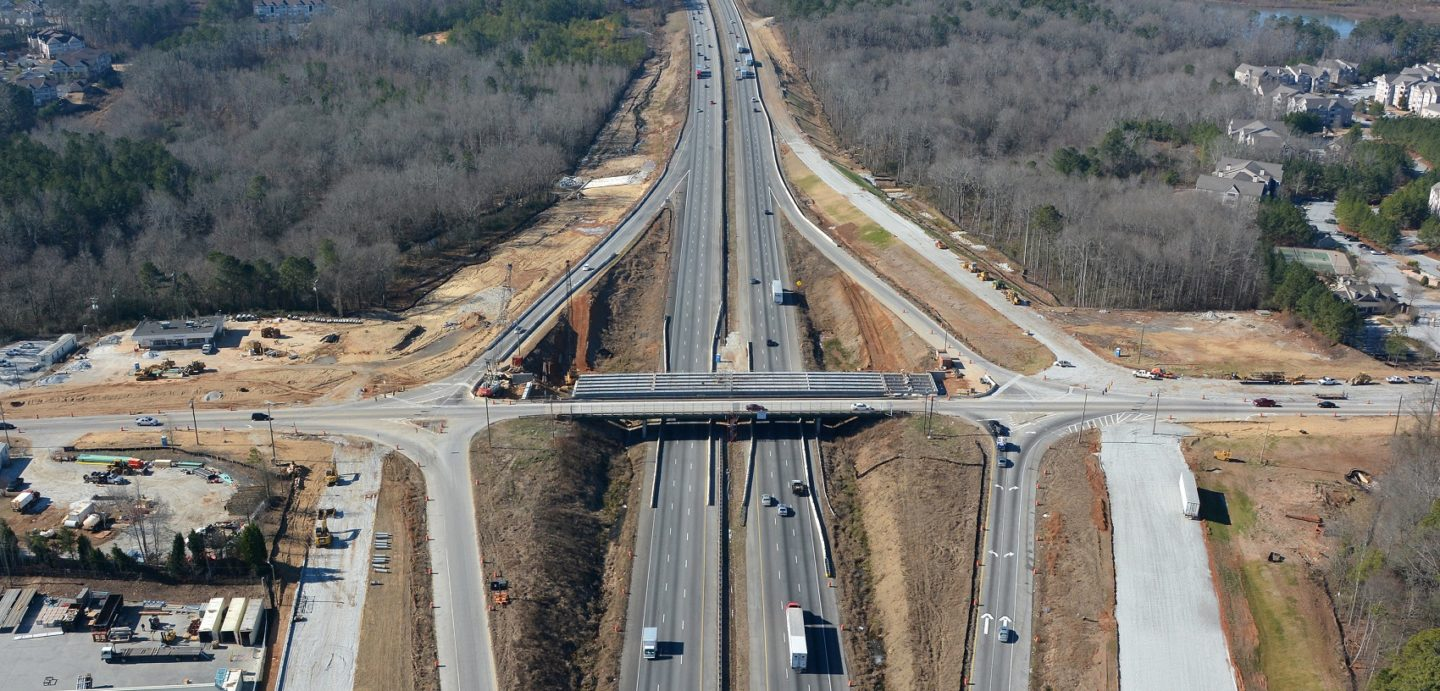 This image is an aerial view of the I-20 Bridge project in Georgia