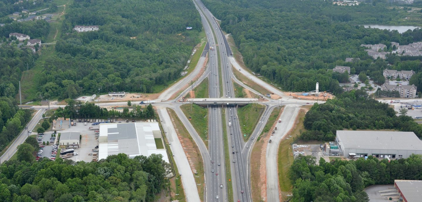 The I-20 Lead Road project included 0.739 mile of widening and reconstruction and construction of bridge and approaches over 1-20/SR 402
