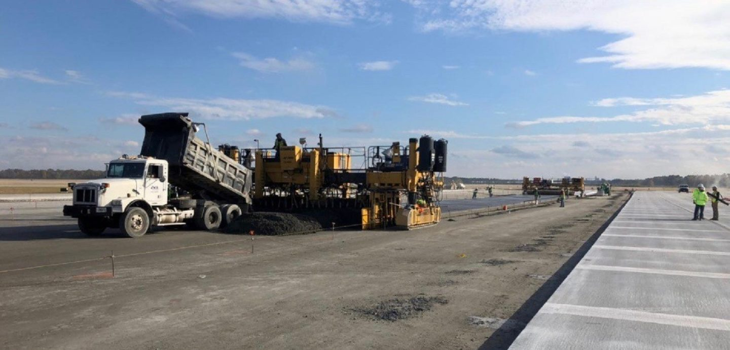 McCarthy Improvement team members work hard to complete renovations at the Augusta Airport Taxiway