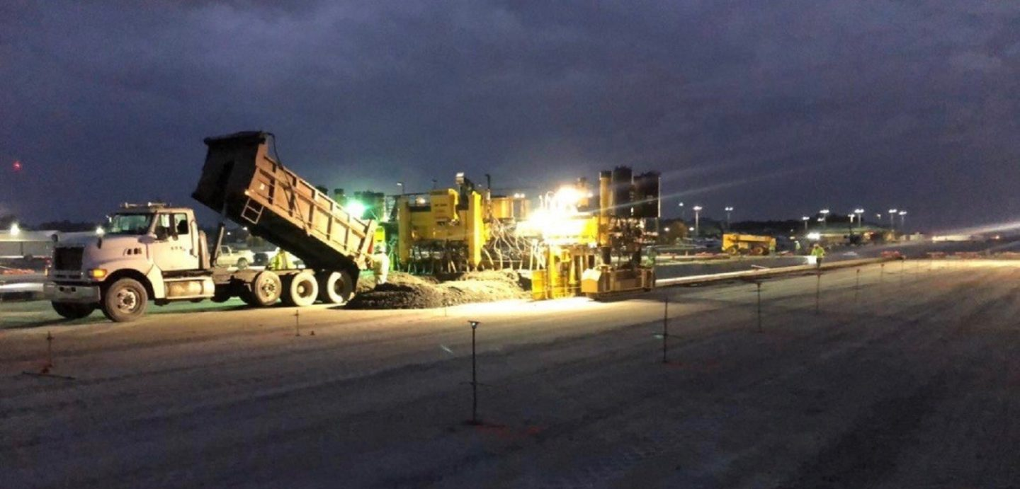 The Augusta Airport Taxiway project required night work by McCarthy Improvement