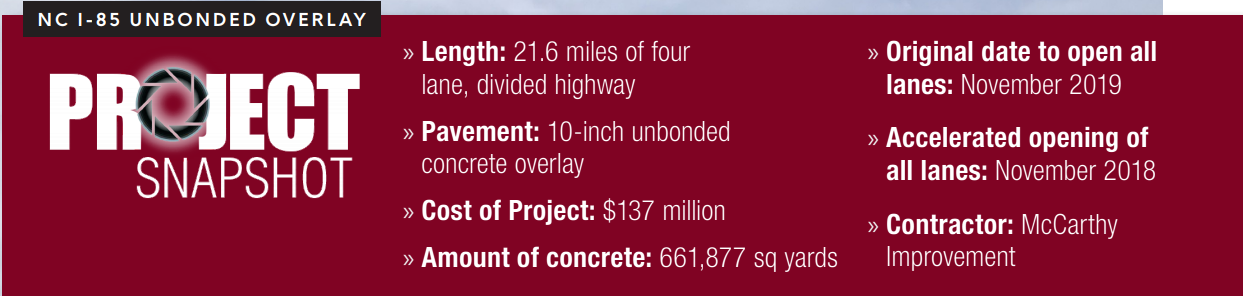 ACPA Project Snapshot of NC I-85 Unbonded Overlay