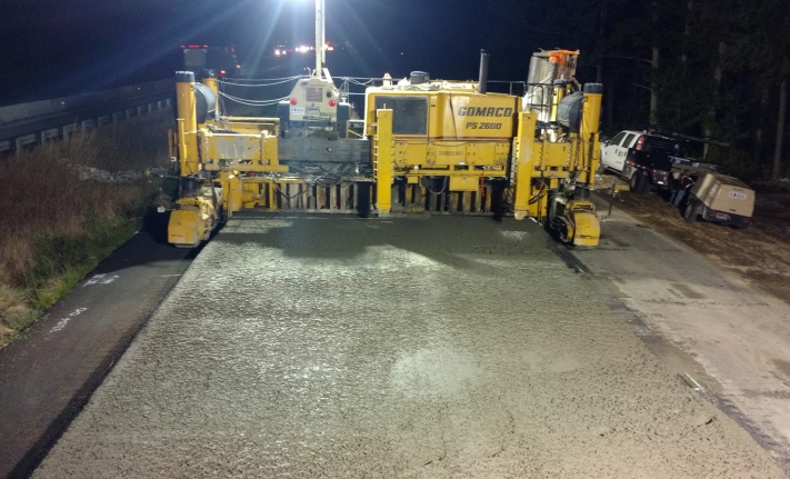 ACPA NC I-85 Unbonded Overlay Project Photo of Working at Night